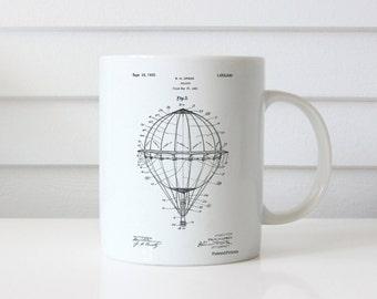 Hot Air Balloon 1923 Patent Mug, Circus Mug, Hot Air Balloon Nursery, Carnival Mug, Vintage Nursery Decor, Around the World, PP0036