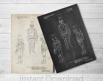 Star Wars Printables, Boba Fett Art, Starwars Art, Boba Fett Print, Star Wars Gift, Star Wars Characters, PP1055