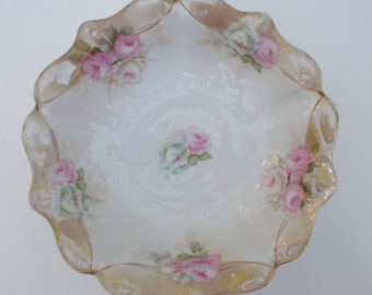 Vintage RS Germany Rose Serving Bowl with Gold Trim
