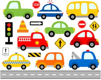 Cute Cars Digital Clip Art, Transportation Clipart, Road Signs Illustration, Fire Truck, Police Car, School Bus, Vehicle - Instant Download