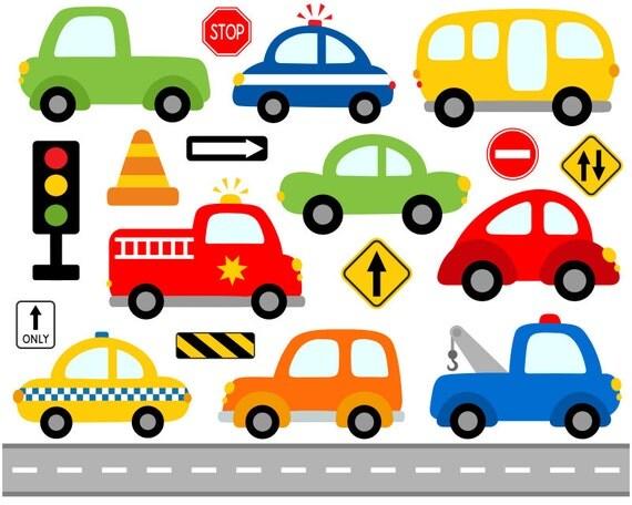 Cute Cars Digital Clip Art Transportation Road Signs