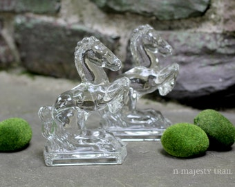 Pair Art Deco Horse Bookends. Vintage. Clear Pressed Glass. Equestrian. Cowboy. Home Decor. Horses. Derby. MidCentury. Jumpers. Library.