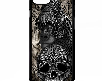 Gorilla ape skull monkey tattoo aztec cool gothic pattern graphic cover for iphone 4 4s 5 5s 5c 6 6s plus SE phone case