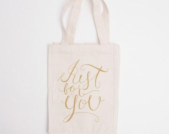 Just for You Canvas Tote, Wedding Welcome Bag, Guest Bag, Wedding Gift Bag, Wedding Hotel Bag, Wedding Favor Bag