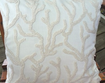 Off white pillow cover with chenille coral design. Gorgeous fabric that will compliment any decor.