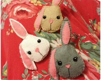 Bunny Rabbit Felt Brooch