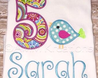 Personalized Birthday Bird Applique Shirt or Onesie