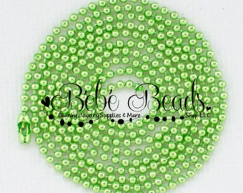 2mm Ball Chain Necklace - Lime Green