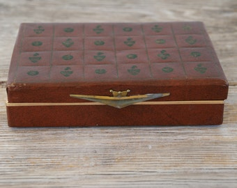Vintage Brown Leather Jewelry Box