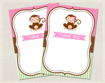 Thank You Cards Printable Birthday Monkey Green 1st 2nd 3rd Pink Girls IV-1