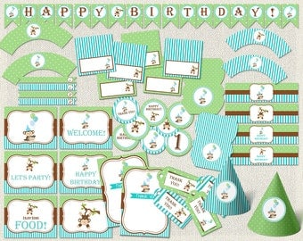 Birthday Pack, Birthday Monkey package, Boys Party Pack, Boy, green, blue, monkey, Birthday Party, decoration package, decoration pack, IV-3