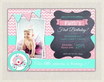 Girls 1st Birthday Invitation / Pink Turquoise Chalkboard Princess First Birthday Invites / Printable Invitation / Pink / Girls 1st Birthday
