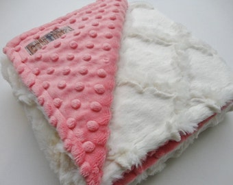 Ivory Lattice and Coral Minky Baby Blanket - Made to Order
