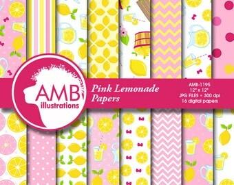 Pink Lemonade Digital Papers, lemon paper, Lemonade paper, Picnic Paper, lemon scrapbook pages for your projects  AMB-1195