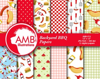 BBQ digital papers, Picnic papers, Barbecue scrapbook papers, Red and green commercial use, AMB-913