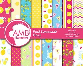 Pink lemonade digital paper, Pink Lemonade paper, Pink and yellow images, Lemonade stand scrapbook papers, commercial use, AMB-895