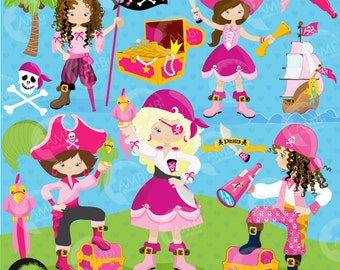 Pirate Girl Clipart, Pirate Girls, Pirates illustration, Treasure Island, Commercial Use, AMB-1107