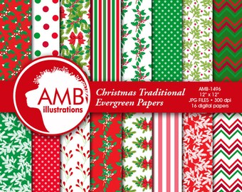 Christmas digital paper, Holiday Backgrounds, Holly Papers, Christmas floral papers, Christmas tree papers, AMB-1496