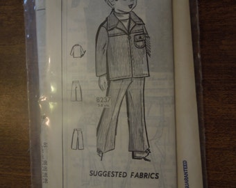UNCUT sewing pattern 8237, craft supplies, mail order pattern, vintage 1970s, childs pants and jacket, ages 3-8, collectible, craft supplies