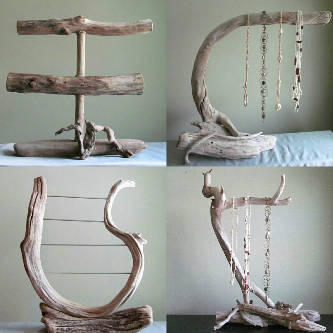 Diy 3 Tier Jewelry Stand: Driftwood 3 Tiered Bracelet Display With Ring Pegs Bracelet