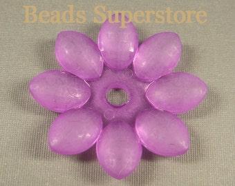 45 mm x 7 mm Purple Lucite Flower Bead - 2 pcs