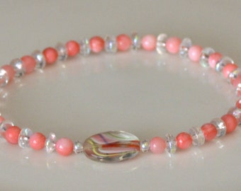 """Crystal & Coral swirl glass beaded stretch anklet 9 1/2"""""""