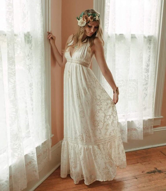 Bohemian Wedding Dress: Boho Wedding Dress Velvet Burnout Dress Halter By