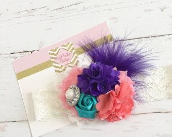 coral dark purple teal ivory headband // baby girl headband // M2M persnickety fall 2016