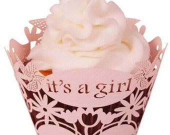 """12 Piece Set - Cupcake Wrappers - Pink Baby Shower """"Its a girl"""" - CCW359"""