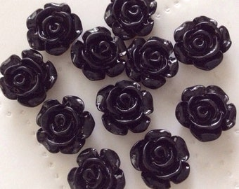 New..10 pcs 13 mm Black Cabochon Flowers,13 mm black resin flower,flower kit,mixed lot flower,assorted cabochon,black rose cabochon flower