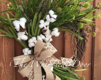 Cotton Boll Wreath Rustic Wreath Cotton Wreath Preserved cotton wreath farmhouse wreath cotton wreath