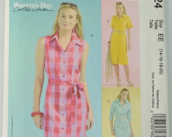 McCall's M4824 Pattern Misses' Petite Dress and Tie Belt, Sewing Pattern, Size 14 - 16 - 18 - 20, UNCUT