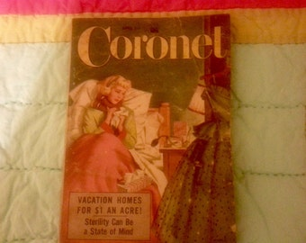 Old magazines, 1950's, Coronet, Stories and ads, Set of two