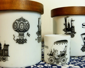 Set of 2 white milkglass kitchen jars with wooden lids - new-Edwardian transport cars trains  - French 60s vintage