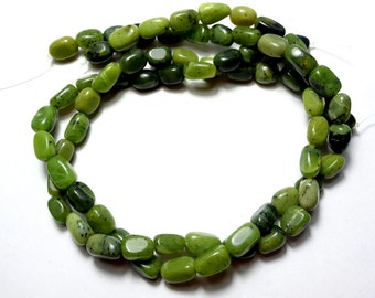 "Nephrite Jade Nugget Beads, Canadian Jade,  natural,  irregular, smooth, polished, 8x10mm, 16"" strand"