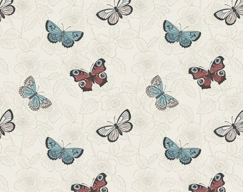 The Botanist A125-1 Cream butterfly sketch Lewis & Irene Patchwork Quilting Fabric