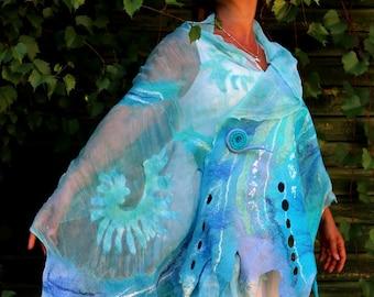 Nuno Felted scarf felted shawl felt scarf merino wool silk  cerulean blue white turquoise  eco