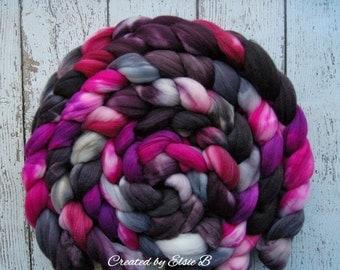 Superwash Merino/ Nylon 'Derby Girl' 4 oz combed top, superwash merino roving CreatedbyElsieB hand dyed roving, spinning fiber, black, pink