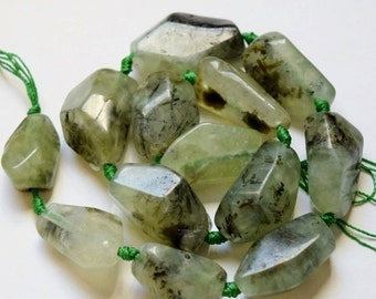 "Genuine Prehnite Nuggets - approx.33-24 x 23-15 mm Gemstone Beads - Strand 16"", 12 beads"