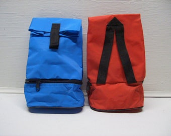 Vinyl Pack sack Bag Sack with Compartments  Lunch Camping (Red or Blue) Colors