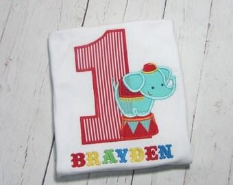 Circus Birthday Shirt - elephant circus birthday shirt - circus elephant birthday shirt - Circus first birthday shirt, embroidered birthday