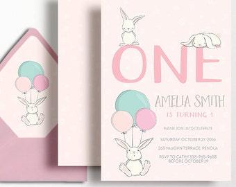 1st Birthday Invitation Girls Rabbit Bunny Balloon Bunnies Flowers Pink Mint Green Aqua Printable Girl First Birthday Milestone 2nd 3rd 4th