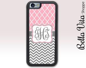 Monogram iPhone Case, Monogrammed iPhone 5 Case, Monogram iPhone 5 Case, Personalized iPhone Case, Pink Lattice Chevrons  1204