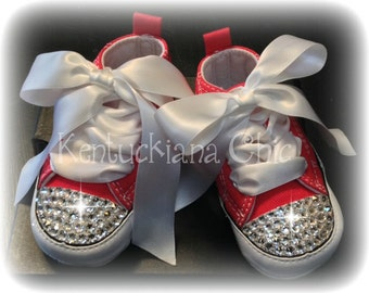 Red Converse Baby Bling Crib Shoes