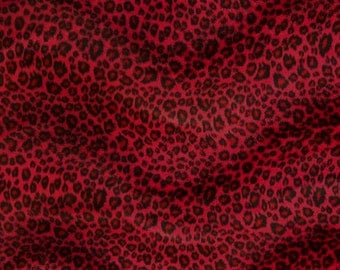 Cheetah Red Velboa Animal Print Fabric Sold by the Yard