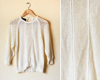Vintage women's cream knitted jumper - S/M