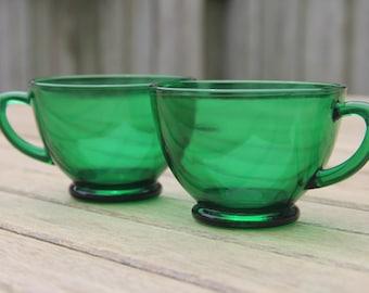 Emerald Green Glass Teacups (set of 2)