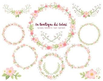 Pink Flower Wreath Clipart, Cute Scrapbook PNG, Laurel Wedding Invitation graphics, floral vector wreaths Clip art Commercial Use