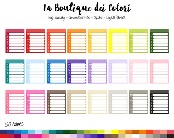 50 Rainbow Weekly check list Clip art Digital Graphics PNG – Weekly Checklist