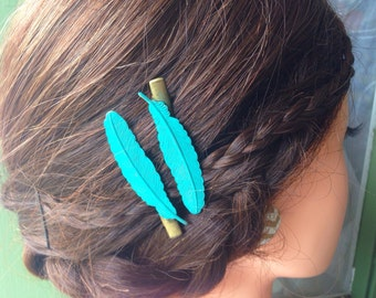 Woodland feather turquoise hair clips, Teal,Shabby Chic Hair,Boho,Bohemian,Bridal,Gift,Rustic,Nature Accessories